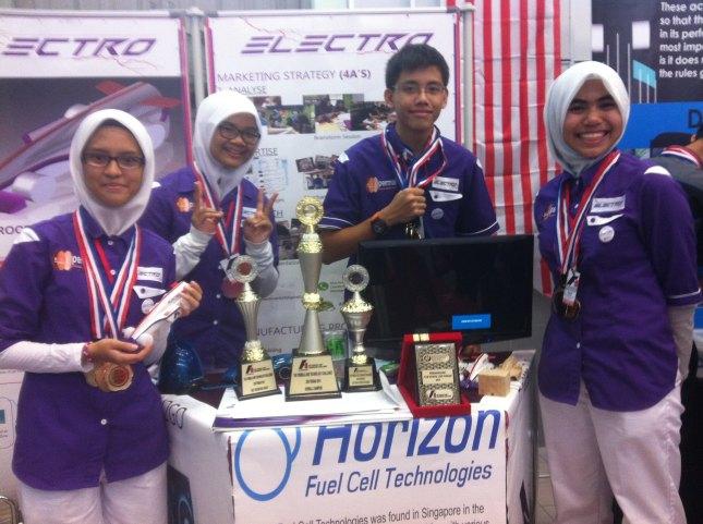 Pasukan Electro bergambar bersama piala kemenangan mereka.